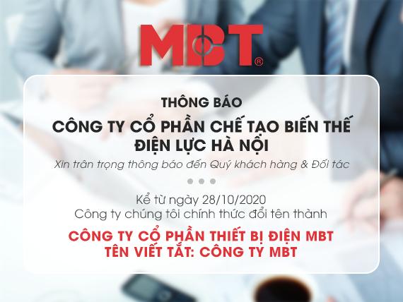 Thông báo đổi tên công ty và tên tài khoản của MBT